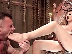 Latex tranny dominates military guy