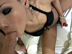 Slender thai lboy pose underwear superb and gives handjob
