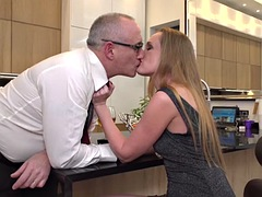 milf gets mature cock on kitchen