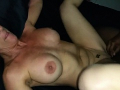 Gorgeous MILF having a threesome with two BBC