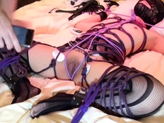 Mature Japanese slave in lingerie enjoys infinite pleasure