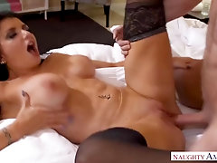 Brown-Haired with meaty bosoms, Romi Rain gave a call to her paramour who came to pulverize her
