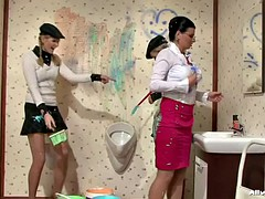 three babes get completely covered in paint