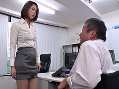 japanese office lady plays with old coworker