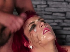 Sexy honey gets jizz shot on her face swallowing all the cum