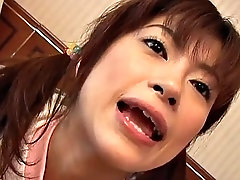 beautiful asian girl gets a mouthful of cum
