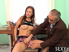 Horny mature teacher copulates wicked babe senseless