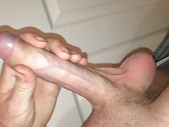 Stroking my hard white cock in the kitchen