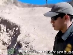 Beautiful slim teen fucks hung officer to cross the border