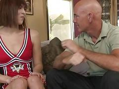 Older bold couch has his way with horny shemale cheerleader