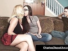 Sex Charged Milf Charlee Chase & Hubby Fuck Sitter