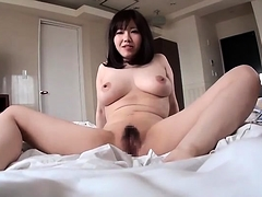 Buxom Japanese wife has her lover plowing her hairy cunt