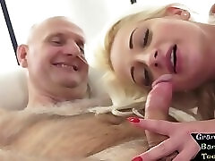 Cocksucking young euro plowed by grandpa