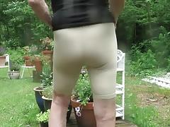 Spandex sissy wiggles his feminine bottom.