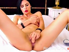 sexy brunette slut on webcam fingering and masturbating her tight pink pussy