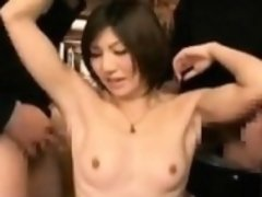 Asian hottie with tiny tits gives head and rides her hairy