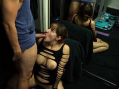Bodacious nympho gets down on her knees and gives a wonderf