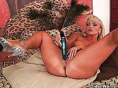 Horny soccer mom exposing her curvy mature body