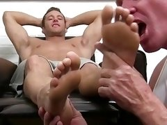 Gorgeous jock toe licked until he cums