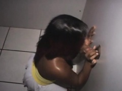 Black Amateur On Her Knees Gulping Dick At A Glory Hole
