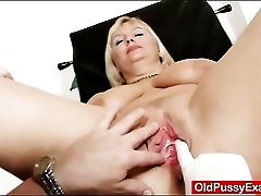 Big boobs blonde mature gets her pussy examined