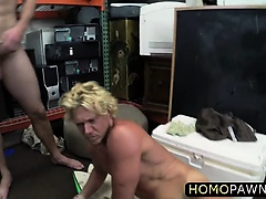 Curly blonde dude loves gay cock