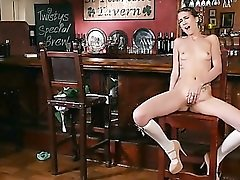 Skinny beer wench stripping and masturbating in the bar