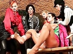 Lesbian orgy with cumshots from dildos