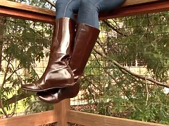Leather boots dangling shoeplay