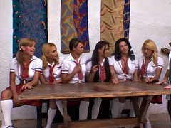 extra hot shemales are banging a very happy teacher in the ass