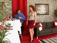 Sexy redhead slut wife gets pounded by massive dong