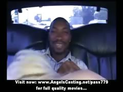 Mesmerizing hot blonde babe undresses and does blowjob in the car