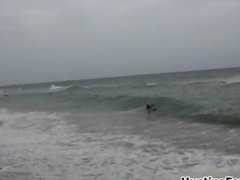 Nasty surfer girl gets horny when