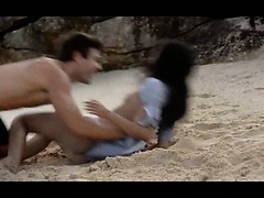 Extremely hot lovers coitus on the beach
