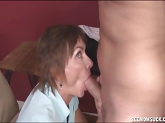 Mature Lady Sucks The Naked Guy's Boner
