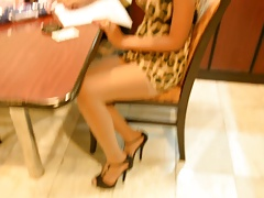 Candid-style clip of Xanny in pantyhose