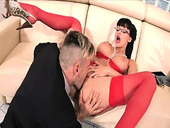 Letting him fuck her in the ass