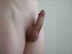 my shaved cock getting hard