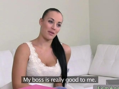 Female agent fucks a gorgeous brunette