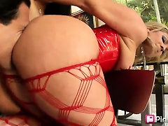 This is an ass-focused scene featuring Flower Tucci and